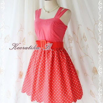 Jazzie III - Sweet Cutie Spring Summer Sundress Pink Top With Watermelon Polka Dot Skirt Scallop Hem Party Dinner Dancing Dress