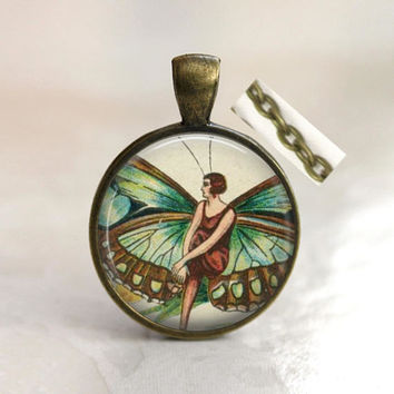 Art Deco altered art pendant necklace with rolo style chain. Art Deco faery, fairy necklace, Dixie Dazzle, made in USA