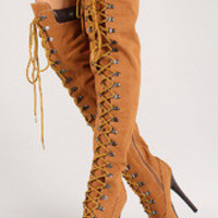 Women's Leatherette Almond Toe Lace Up Thigh High Stiletto Platform Boot