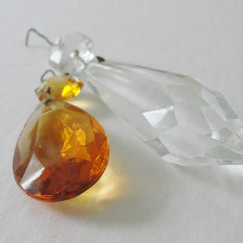Vintage Glass Prisms, Colored Glass Prism, Amber Glass Prism, Clear Glass Prism