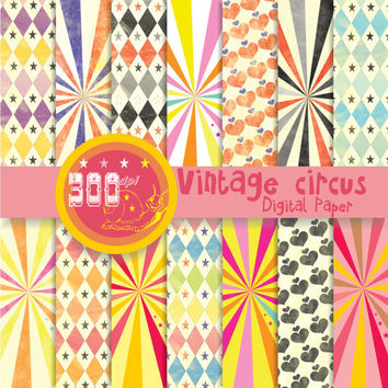 Circus digital paper diamonds, hearts, stars and stripes 'vintage circus' 14 circus backgrounds