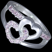 Silver ring, CZ, lovely hearts