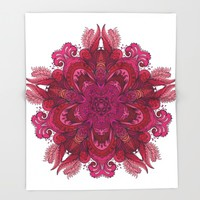 Indian Mandala 01 Throw Blanket by Aloke Design
