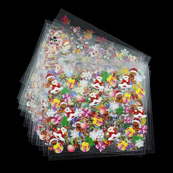 24 Designs/Lot Beauty Christmas Style Nail Stickers 3D Nail Art Decotations Glitter Manicure Diy Tools For Charms Nails JH159