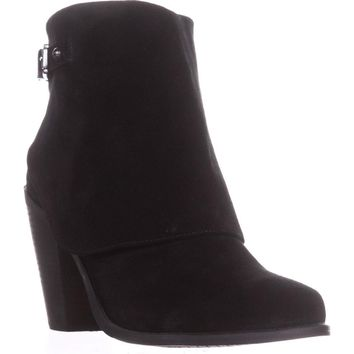 Jessica Simpson Caralyne Ankle Cuff Block Heel Booties, Black, 11 US