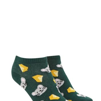 Mouse And Cheese Ankle Socks