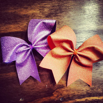 holo orange and lavender glitter cheer bow