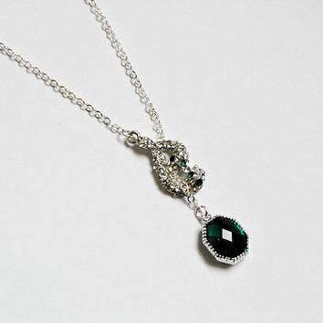Snake Lariat Necklace, Rhinestone Snake and Emerald Glass Gem Silver Lariat Style Necklace, Snake Jewelry