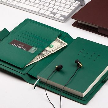 Multi-Functional Leather Notebook Cover