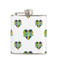 Happy Mardi Gras Logo Hip Flask