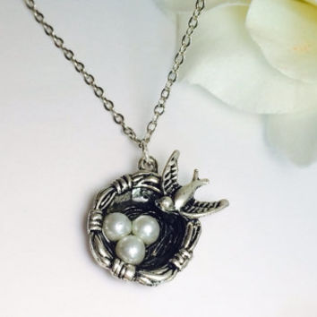 Bird Nest necklace antique silver gift for mom