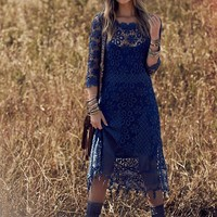 Free People Womens Daisy Chemical Lace Dress - Twilight Blue,