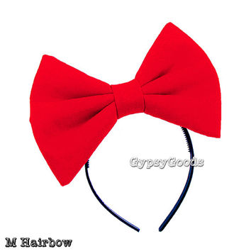 MEDIUM Flannel Hair Bow (Headband) M--Bow in Red, Black, White, Pink, Purple or Yellow for costume cosplay comic-con Halloween