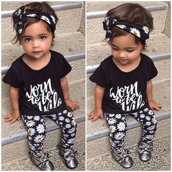 New 2016 summer style letters floral daisy printed baby girl clothes set kids outfit+headband 3 pieces set newborn baby clothing