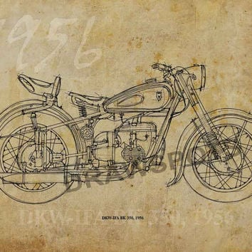 DKW-IFA BK 350 1956, 12x8.50 in to 60x42in. Based on my Original Handmade Drawing, large art print, for men office