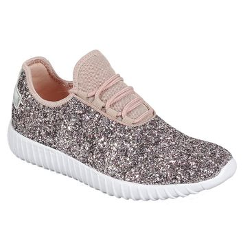 Lace Up Glitter Sneakers