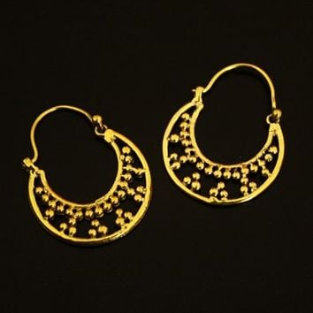 Ethnic Hoop Earrings,Tribal Brass earrings,Indian Jewelry