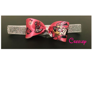 Minnie Mouse disney silver sparkly headband. Premie, newborn, all ages.