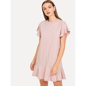 Ruffle Sleeve and Ruffle Hem Dress