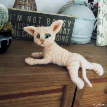 Sphynx cat, needle felted, sphynx kitten, soft sculpture, pink naked cat, wrinkled creatures, cute baby animals, ugly cute MADE to ORDER