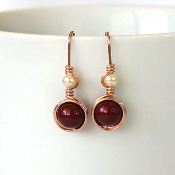 Burgundy Cream Pearl Rose Gold Filled Earings, Swarovski Pearl Drop Earrings, Rose Gold Burgundy Jewelry, Gift for Her