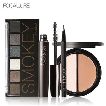 ESBONJ FOCALLURE 6 Warm Nude Eyeshadow Palette Black Volume Mascara Eyeliner Pen Double Colors Bronzer Highlighter Powder Makeup Kit