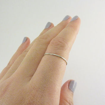 Sterling Silver Stacking Ring, 1mm Ultra Thin Band - One Ring, Hammered and Textured - Single, Simple, Elegant Gift twoblindmice
