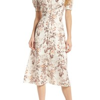 Gal Meets Glam Collection Botanical Garden Print Midi Dress | Nordstrom