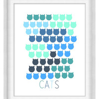 Printable Poster: Cats in Blue Green - Vertical 8x10 - Digital Wall Art - Kid's Room Print
