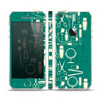 The Teal and Yellow Beauty Product Icons Skin Set for the Apple iPhone 5s