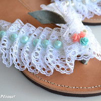 Grecial Leather Sandals Lace Mint Pearl Flowers Leather Flip Flops Hand Decorated Summer Grecian Leather Sandals Bridesmaids Sandals