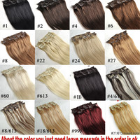 "16"" 18"" 20"" 22"" 24"" 26"" 28"" 7pcs Set 100% Brazilian Remy Hair clips In/on Human Hair Extensions 22 Colors 70g 80g 100g 120g 140g"