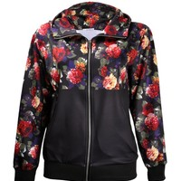 ZLYC Women Fashion Blossom Floral 23 Print Zip-Up Casual Sweatshirt Hoodie Jacket