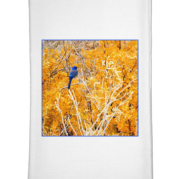 Blue Bird in Yellow Flour Sack Dish Towels