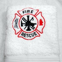 Guest Towel Fire Rescue Maltese Cross Handmade Embroidered