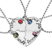 "Hot!4 Pcs/set ""best friends forever"" Rhinestone Broken Heart Shape Bff Necklace Friendship for Gift free shipping"