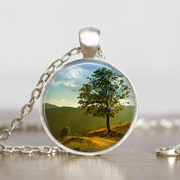 landscape tree pendant, green tree necklace, tree jewelry, tree photo art, nature pendant, beautiful natural necklace, tree decor, glass