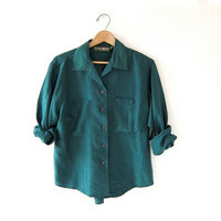 90s silk shirt. dark green silk blouse. cropped silk top.