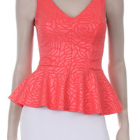 QUEEN FLOWER EMBEDDED TANK TOP - CORAL
