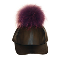 Black Leather Cap With Purple Fur Pom