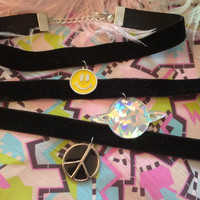 Totally Rad Black Velvet Chokers in Smiley Face, Planet, or Peace Sign