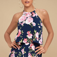 In the Garden Navy Blue Floral Print Romper