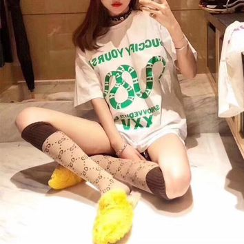 """""""Gucci"""" Women Casual Personality Letter Snake Pattern Print Short Sleeve T-shirt Top Tee"""