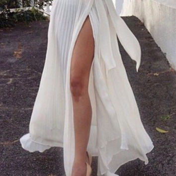 White Flounce Hem Split Maxi Skirt