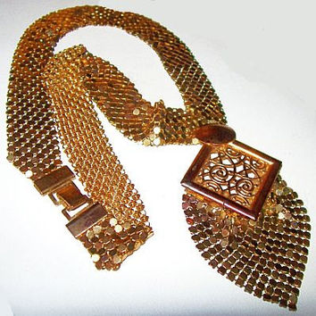 Vintage Pendant Necklace Bib Chain Gold Mesh Link Filigree Gold Metal Statement Mid Century