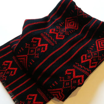 1.7 yards Black with red tribal design ethnic fabric Mexican textile