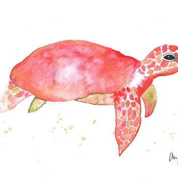 Sea Turtle - Coral print derived from original watercolor by Lexi Rajkowski