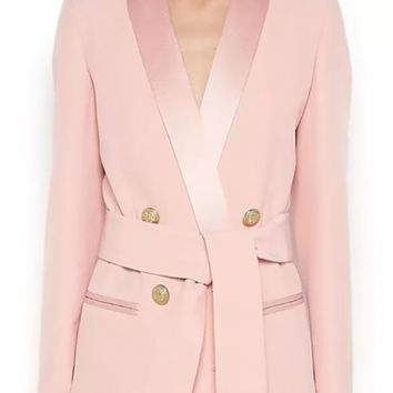 So Serious Long Sleeve Double Breasted Button Satin Lapel Blazer Jacket Outerwear - 2 Colors Available - Sold Out