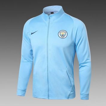 KUYOU Manchester City 2017/18  Men Training  Jacket-Light Blue
