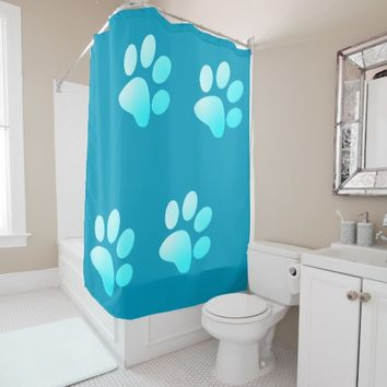 Blue Gradient Paws Shower Curtain